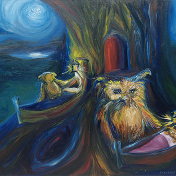 Original Owl Painting Oil Painting - Childrens Bedtime Wall Decor Woodland Animals 18 x 24