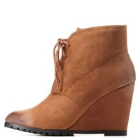 Camel Qupid Pointed Toe Lace-Up Wedge Booties