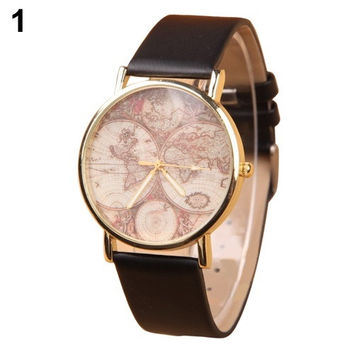 Women's Vogue Casual Retro World Map Watch Faux Leather Round Analog Quartz Wrist Watch = 1956798340