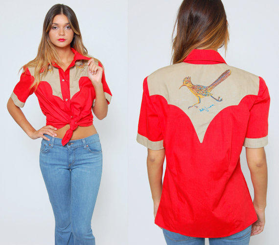 vintage 70s bowling shirt red western from lotus vintage