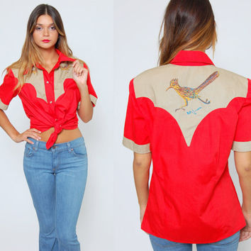 Vintage 70s Bowling Shirt Red WESTERN Button Down with Hand Painted ROADRUNNER Portrait Rockabilly Button Up