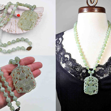 Vintage Chinese Green Jadeite Elephant Pendant Necklace, Carved, Pierced, Jade Bead, Knotted, Silver, 25 Inches, Translucent #c294