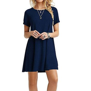 INITIALDREAM 2018 Summer Women Simple Casual Dress Short Sleeve O-Neck Solid Color Dress Loose Plus Size XXXL Female Vestidos