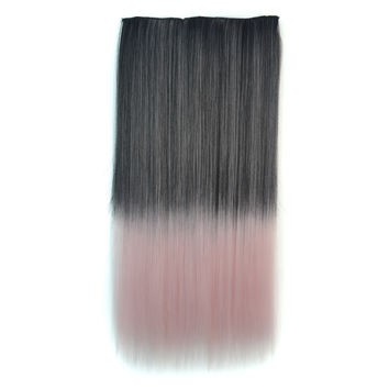 On Sale Sexy Hot Sale Hot Deal Beauty Wigs Black Gradient Vanilla Straight Hair Clip Hair Extensions [4923184644]