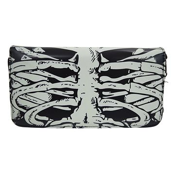 Gothic Skeleton Ribcage Glow in the Dark Zip Around Wallet