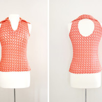 Vintage 70s Honeycomb Knit Crochet Halter Top with Peekaboo Back and Collar - Size Small to Medium