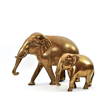 Pair Vintage Brass Elephant Figurines - Brass Animals - Elephant Decor
