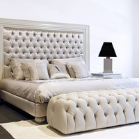 LEATHER DOUBLE BED WITH TUFTED HEADBOARD ZAHRA | DOUBLE BED | MANTELLASSI 1926