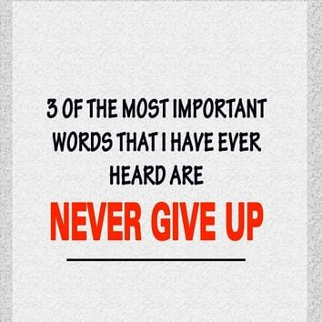 Three of the most important words that I have ever heard are Never Give Up