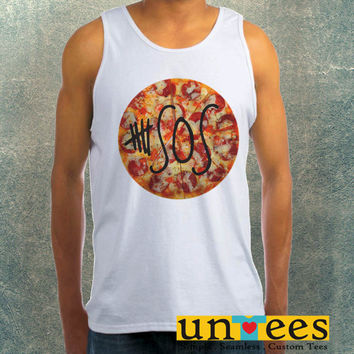 5 SOS Logo on Pizza Clothing Tank Top For Mens