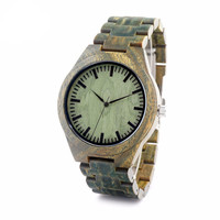 The Chameleon - Mens Green Sandal Wood Watch