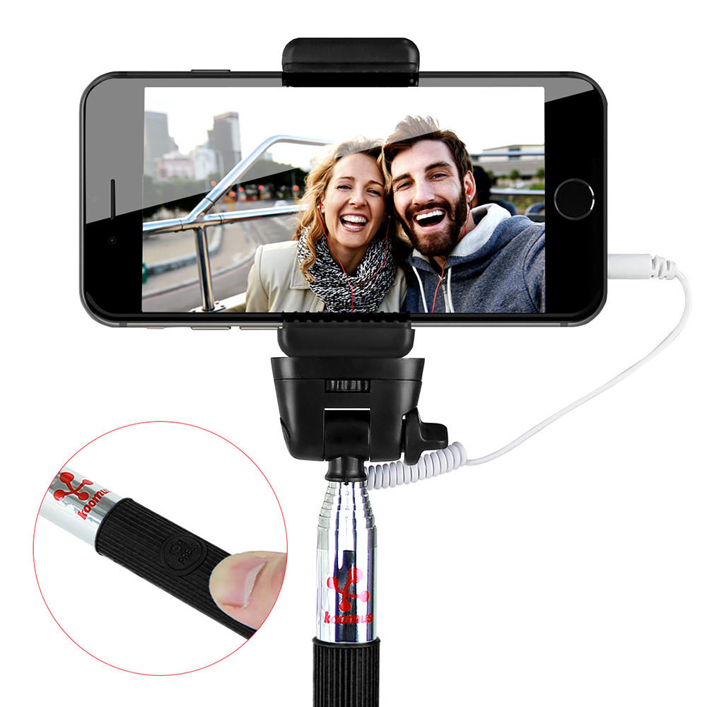 koomus selfie stick with cable monopod from. Black Bedroom Furniture Sets. Home Design Ideas