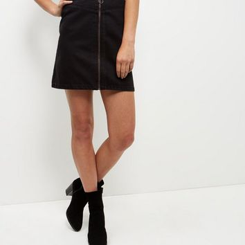 Black Zip Front Denim Skirt
