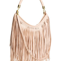 Pink Blush Shoulder Bag With Fringe