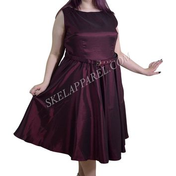 Plus 50's Vintge Style Maroon / Burgundy Satin Swing Dress