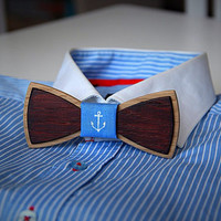 Unique handcrafted wooden bow tie. Anchor fabric. Two kinds of wood used #JVbowtie