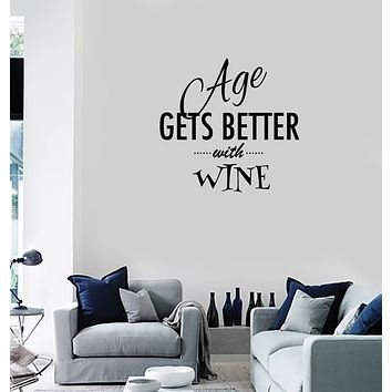 Vinyl Decal Wall Sticker Decor for kitchen Wine Quote Words Dinner room Unique Gift (g136)