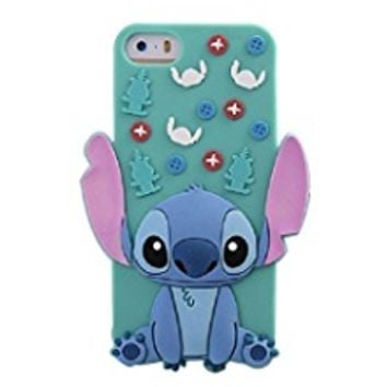 Emily Fashion Cute 3D Cartoon Blue Alien Dog Silicone Case Cover for iPhone X 8 Plus 6S 6 Plus 6SE 5S 5 SE 5C/Samsung Galaxy S8 Plus S7 S6 Edge Note 8 Note 5 S5 J7 J5 ON5 J3 Prime Mini 2017 2016 J7 V
