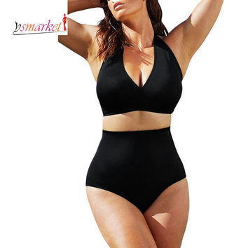 2016 Push up High Waist Swimsuit 4XL XXXL XXL big size Women Bathing Suit Padded Bikini set Retro Beachwear Plus Size Swimwear