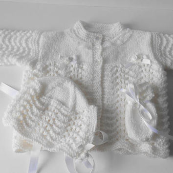 White Matinee Set. Christening set. Baptism Outfit. White Sweater/Cardigan Set. 3 Piece set Matinee Coat, Bonnet, Mittens.  3-6 months.