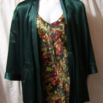 Victoria Secret, Liquid Satin, Green Robe, Kimono Wrap, Dressing Gown, Bridal Honeymoon, Size One Size OS