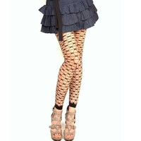 Seamless Fence Net Patterned Footless Tights, One Size, Black Color