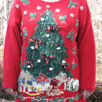 Tacky Christmas sweater, christmas sweater, christmas, sweater, christmas tree, christmas tree sweater, red sweater, tacky sweater party