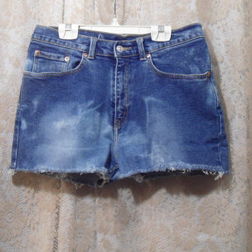 "32"" waist Levis 517 Blue Jean Bleached Frayed High Waisted Jean Shorts"