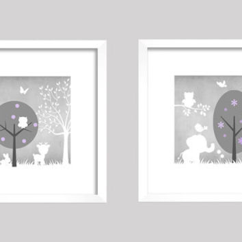 Gray Lavender White Enchanted Forest Animals, CUSTOMIZE YOUR COLORS, 8x10 Prints, set of 2, nursery decor nursery print art baby room decor