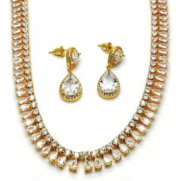 Gold Layered 06.205.0014 Necklace and Earring, Teardrop Design, with White Cubic Zirconia, Polished Finish, Gold Tone