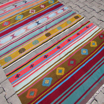 "VINTAGE Turkish Kilim Rug, Antalya Kilim Rug, Kilim Rug 4x5, Turkish Kilim, Turkish Kilim Rug, Turkish Rug, Vintage Kilim, 60"" x 85"""