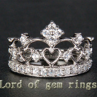 Unique .57ct Diamonds Solid 14K White/Yellow/Rose Gold Wedding Band Engagement Crown Anniversary Ring