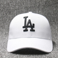 AMERICAN NEEDLE MLB Baseball LA Dodgers Dad Hat, White black logo