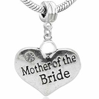 Wedding Charms Heart W/Crystal Dangle Charm Bead For Snake Chain Bracelet (Mother of the Bride)