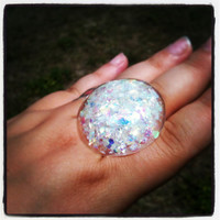 "Handmade ""PrismGem"" White Iridescent Snow Globe Confetti Hearts Stars Glitter Loaded Large Resin Dome Bubble Adjustable Ring Made to Order"