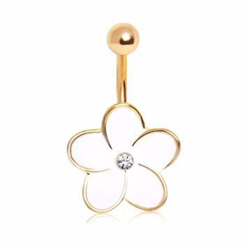 316L Enameled Flower Navel Ring with Center Gem and Gold Plated Trim