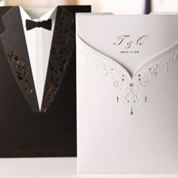 100 Bride and Groom Reversible Wedding Invitation Kit/DIY Personalized Invitation with Envelope/DIY Blank Mr and Mrs Wedding Invitation Card