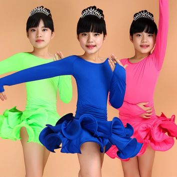 Girls Short Sleeves Latin Dance Dress Children Fancy Dress Kids Ballroom Dance Wear Salsa Tango Rumba Cha Cha Costume