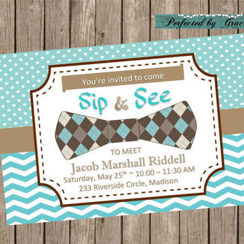 Printable DIY BOY Sip and See or Baby Shower Invitation Blue with Bow Tie - Chevron and Polka Dots can be customized to your occasion