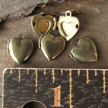 Teeny  Tiny Vintage Oxidized Brass Heart Locket Charms 11mm (4)