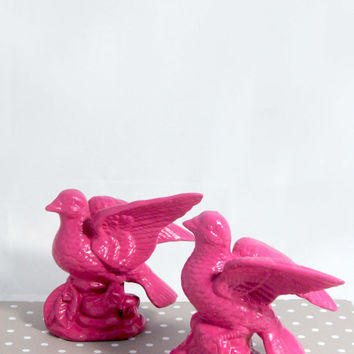 Upcycled Ceramic Bird Figurines, Vintage, Bird Sculptures Repurposed, Bird Decor, Bright Pink, Magenta, Home Decor