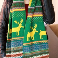 Deer and Floral Print Knitted Scarf