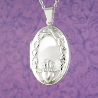 Oval Claddagh Locket Necklace