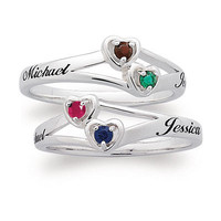Sterling Silver Couple's Heart Ring (2 Stones & Names) - View All Personalized Jewelry - Zales