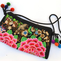 Birds, Bunnies, and Butterflies: Embroidered Shoulder Bag with Tassels