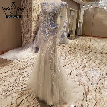 Sexy Off Shoulders Tulle Mermaid Evening Dress Grey Appliques Beading Evening Gowns Robe De Soiree 2017 Real Picture