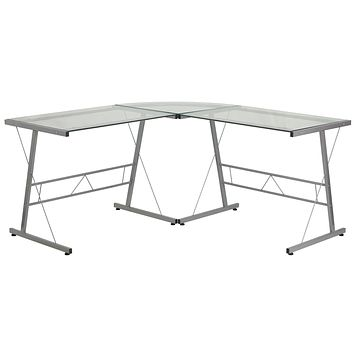 Glass L-Shape Computer Desk with Frame Finish