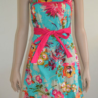 NWT 50s Style Vintage Floral Print Dress Daisy Flowered Strapless Sun Dress