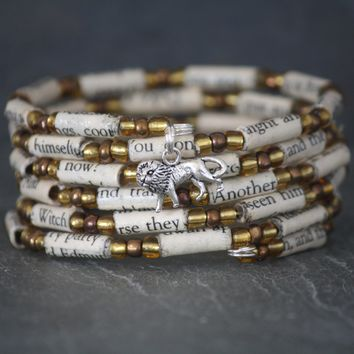 The Lion, the Witch, and the Wardrobe Paper Book Bead Bracelet
