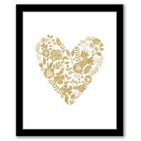 INSTANT DOWNLOAD, Floral Heart, Gold Glitter Art, Printable Art, Gold Foil, Bedroom Decor, New Home Gift, Bathroom Art, Nursery Art